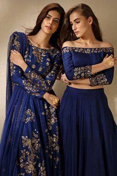 Wedding Reception Indian Outfit Bollywood Ideas For 2019 Ethnic Fashion, Asian Fashion, Look Fashion, Indian Attire, Indian Ethnic Wear, Indian Blue, Anarkali, Lengha Saree, Sabyasachi