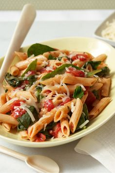 Spinach Pasta Toss – Spinach. Tomatoes. Cheese. Penne pasta. With ingredients this good, you don't need much else! (Bonus: This dinnertime recipe only takes 25 minutes to make, start to finish.)