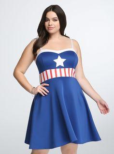 Marvel By Her Universe Captain America Skater Dress | Torrid