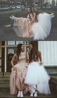 Sparkle Two Piece Sleeveless bridesmaid Dresses, Charming Tulle Party Dresses,Prom - Hairstyles For All Homecoming Pictures, Prom Pictures Couples, Prom Couples, Prom Photos, Prom Pics, Teen Couples, Maternity Pictures, Couple Pictures, Senior Pictures