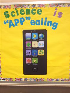 "Science bulletin board... Each ""app"" represents a different topic we will be covering this year in science."