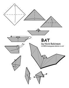 Murciélago de origami fácil para Halloween …