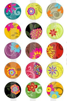 Ornamental Flowers one 46 inch digital sheet of 1 round images for bottlecaps magnets glass tiles pendants etc Diy Bottle Cap Crafts, Glass Tile Pendant, Glass Tiles, Birthday Bulletin, Diy Crafts For Home Decor, Matching Paint Colors, Drawing Now, Arte Country, Rock Painting Designs