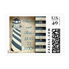 #wedding #responsecards - #Rustic Nautical Lighthouse Beach Wedding RSVP Postage