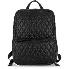 H by Harris Quilted leather backpack (2.215 BRL) found on Polyvore featuring women's fashion, bags, backpacks, bolsas, bolsos, purses, women, quilted leather bag, quilted leather backpack and padded bag