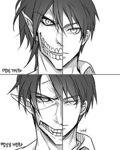 Eren and Levi in titan forms | Shingeki no Kyojin || https://twitter.com/thwlsdl6480 [please do not remove this caption with the source]