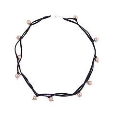 Collar de tientos de gamuza y perlas, con detalles en plata 950 - Sarah Kosta