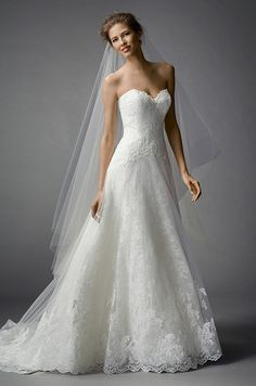 Strapless A-line lace wedding dress by Watters, Fall 2015