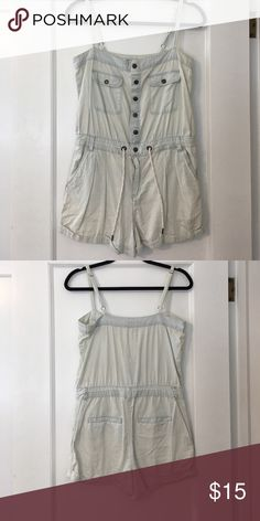 Light denim romper Adjustable straps. Zipper and buttons. Adjustable waistband. Very lightweight, perfect for summer. Forever 21 Other