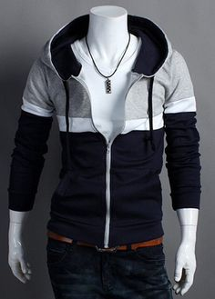 Hooded Color Block Zip Up Long Sleeve Hoodie Super Moda, Moda Pop, Casual Outfits, Men Casual, Casual Clothes, Mens Sweatshirts, Types Of Fashion Styles, Shirt Style, Hooded Jacket