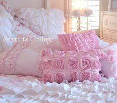 PINK SATIN RAG ROSES PILLOW FOR YOUR SHABBY COTTAGE CHIC HOME