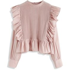 Chicwish Sweet Like You Pleated Ruffled Top in Pink Teen Fashion Outfits, Look Fashion, Girl Fashion, Casual Outfits, Fashion Dresses, Fashion Design, Stylish Dress Designs, Stylish Dresses, Frill Tops