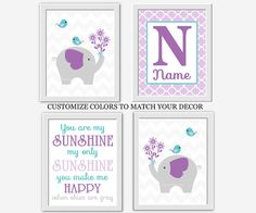 Baby Girl Nursery Wall Art Elephant You Are My Sunshine Purple Lavender Teal Aqua Personalized Name Art Baby Nursery Decor Girl Room Prints