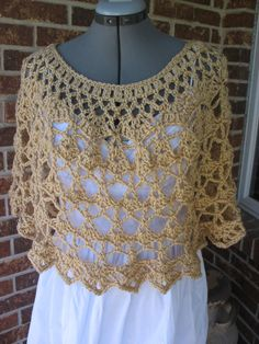 Lacy Crochet Ladies Capelet Shoulder Wrap by MarciLynnDesigns