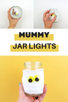 Looking for an easy way to decorate this Halloween? These easy mummy jar lights are simple and require hardly any materials to make! Jar Lights, Lily, Halloween, Check, How To Make, Crafts, Decor, Decorating, Manualidades
