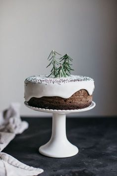 dense Christmas cake with snowy white icing
