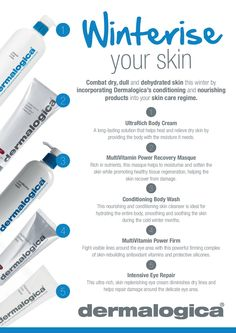 Helpful tips and products to use in order to winterise your skin. Thanks to these great winter skin tips from #Dermalogica