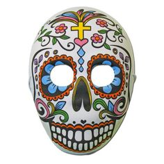 Day Of The Dead Masquerade Mask With Cross Design Fancy Dress Masks, Day Of The Dead Mask, Ceramic Mask, Half Mask, Cross Designs, 3d Design, Masquerade, Skull, Pray