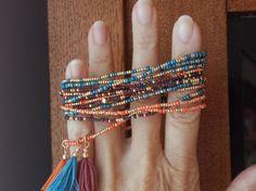 Marruecos largo semilla grano Wrap Pulsera collar de cordón