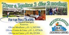 Tour a Iquitos 3 días 2 noches por Fiestas Patrias 2013    Aún estás a tiempo para reservar este viaje espectacular para internarte en la espesa selva Amazónica de Perú. Del 28 al 30 de julio disfrutarás de Iquitos con excursiones, alojamiento en el Cumaceba Lodge y alimentación con los más exquisitos platillos selváticos.    Infórmate más y reserva aquí: http://www.viajeroperuano.com/tour-iquitos-3-dias-2-noches-fiestas-patrias/
