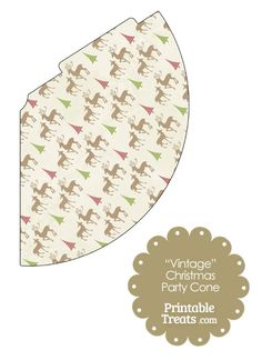 Vintage Reindeer Party Cone from PrintableTreats.com