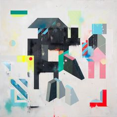 'Field' 146x146cm. Acrylic, pencil, tape and spray paint on wood. 2017.