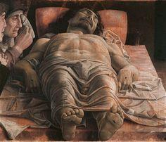 Andrea Mantegna. The Lamentation over the Dead Christ.   Tempera on canvas, 68x81 cm, 1490  Pinacoteca di Brera, Milan.