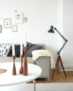 DIY Floor lamp by Domestic Candy -  desk lamp to floor lamp golvlampas bones used.