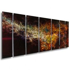 """All My Walls Abstract by Ash Carl Holographic Metal Wall Art in Black - 23.5"""" x 60"""" - SWS00042"""