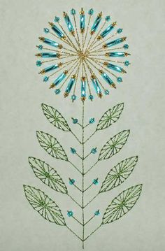 Embroidered greeting card, with metalic thread and beading. Very pretty.