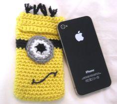 crochet minion phone case