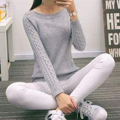 2015 Women Twist Sweater Autumn Fashion O-Neck Solid Sweater Slim Knitted Pullovers Long-sleeve Sweater and Pullover