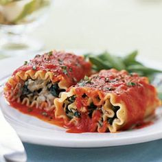 Lasagna Rolls with Roasted Red Pepper Sauce | CookingLight.com