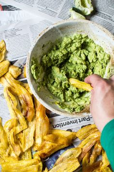 A healthy recipe for you to share with the kids tonight: Plantain Chips and Guacamole