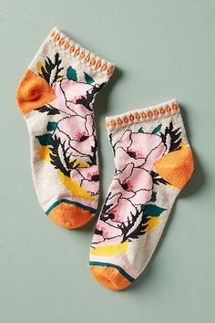 Slide View: 1: Nature Bouquet Ankle Socks
