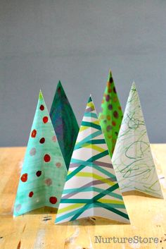 Easy Christmas tree craft  - great kids Christmas decoration using kids art. Each child can make their own design.