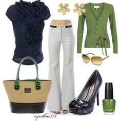 """spring outfits white pants, navy ruffle shirt, green cardigan, black peep toe. """"nautical twist"""" - Click image to find more fashion posts"""