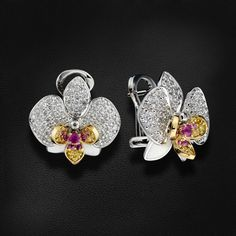 """Серьги """"Орхидея"""" с бриллиантами, цветными сапфирами из желтого и белого золота 750 пробы (арт. 27663)"""