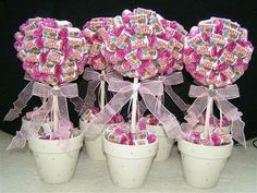 Sweet trees for the table centerpieces. I like this idea, but possibly different candy to keep with peppermint theme and maybe different containers? Chocolates, Wedding Sweet Cart, Candy Arrangements, Candy Trees, Sweet Carts, Sweet Buffet, Bar A Bonbon, Sweet Trees, Wedding Sweets