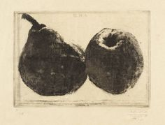 Avigdor Arikha Pear and Apple, 1972 Etching on paper