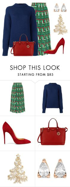 """Crew Neck Sweater & Printed Skirt"" by dana-debanks ❤ liked on Polyvore featuring Gucci, DKNY, Christian Louboutin, Henri Bendel, Nadri and Anita Ko"