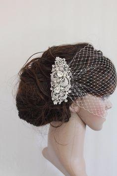 Bridal Veil and Bridal Comb,Wedding Birdcage Veil,Blusher Bird Cage Veil,Rhinestone Fascinator Comb,Wedding Birdcage Veil,Wedding headpiece by Angelbridalshop on Etsy https://www.etsy.com/listing/174057339/bridal-veil-and-bridal-combwedding