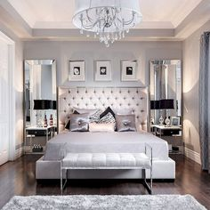 Beautiful bedroom decor tufted grey headboard mirrored furniture home white ideas Small Master Bedroom, Master Bedroom Design, Dream Bedroom, Home Bedroom, Bedroom Designs, Master Suite, Modern Bedroom, Queen Bedroom, Lux Bedroom