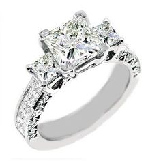 2.10 Ct. Princess Cut Diamond Engagement Ring 14K G/VVS2