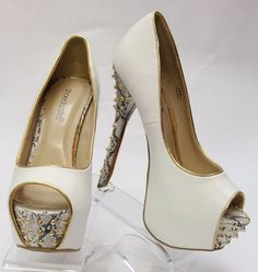 SHOEDAZZLE White w/Snake Print & Gold Stud Accents Open Toe Pump SZ 8 460080.1 #Shoedazzle #Stilettos