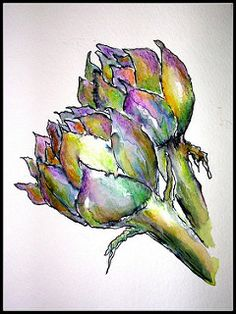 Wax pastel and pen create tonal qualities and show light casting onto the flower Watercolor Fruit, Pen And Watercolor, Watercolour Painting, Watercolor Flowers, Watercolours, Vegetable Painting, Pen And Wash, Globe Art, Caran D'ache