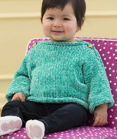 Free Knitting Pattern for Super Easy Simple and Soft Baby Pullover - Easy baby sweater is a quick knit in bulky yarn and buttons on the shoulders for easy dressing. Sizes 12 months – 24 months. Designed by Lorna Miser.