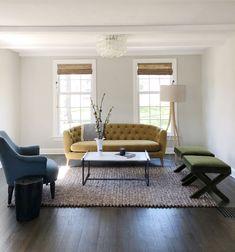 A light bright living room in a Westport, CT home. #midcentury #livingroom