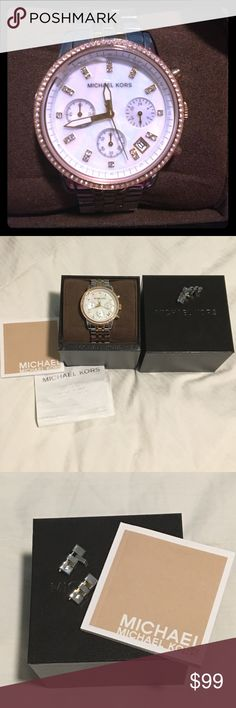 Michael Kors stainless, rose, and gold watch This watch is the best because you can match it with silver, rose gold, or gold! It has crustal encrusted face and accents. Originally purchased from NYC Michael Kors store for over $200. Comes with original box, manual, and unused extra links. In good used condition. Battery is still ticking. There is a small chip in the corner of the face of the glass, but you can't see it when looking straight on. Michael Kors Accessories Watches