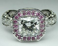 Radiant Diamond Vintage Pave engagement ring omg perfection